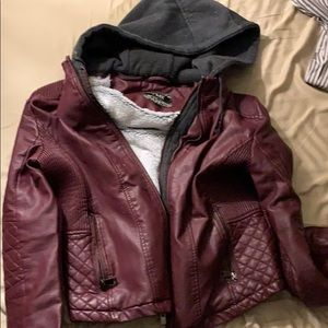 Zip-Out Hood Faux Leather Faux Fur Lined